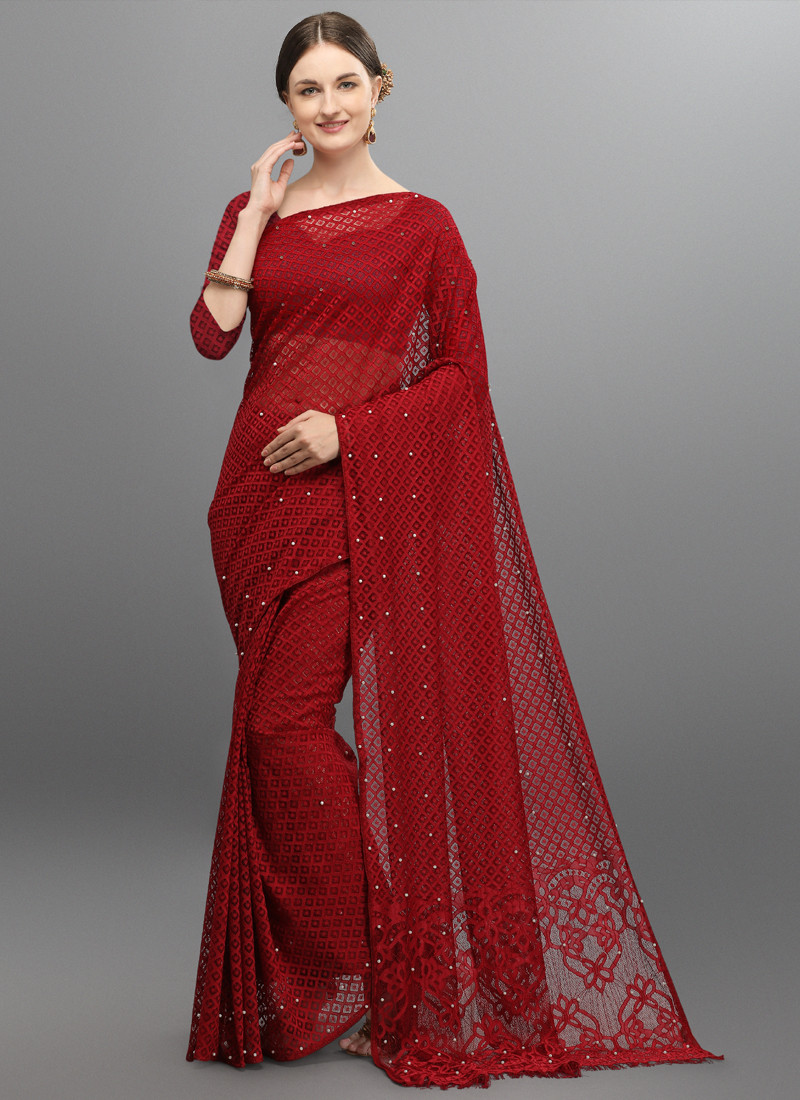 Festival wear Maroon Paper Silk Embroidered Saree with Blouse