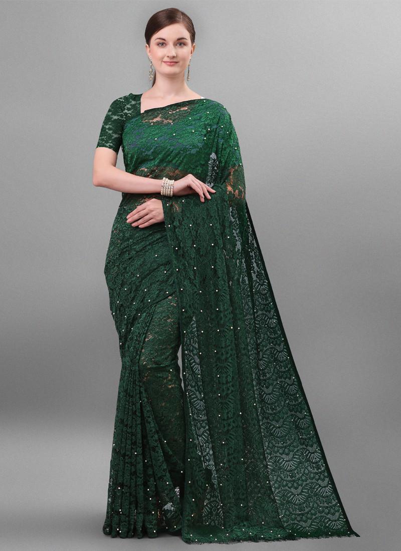 Designer wear Green Jacquard Net Saree