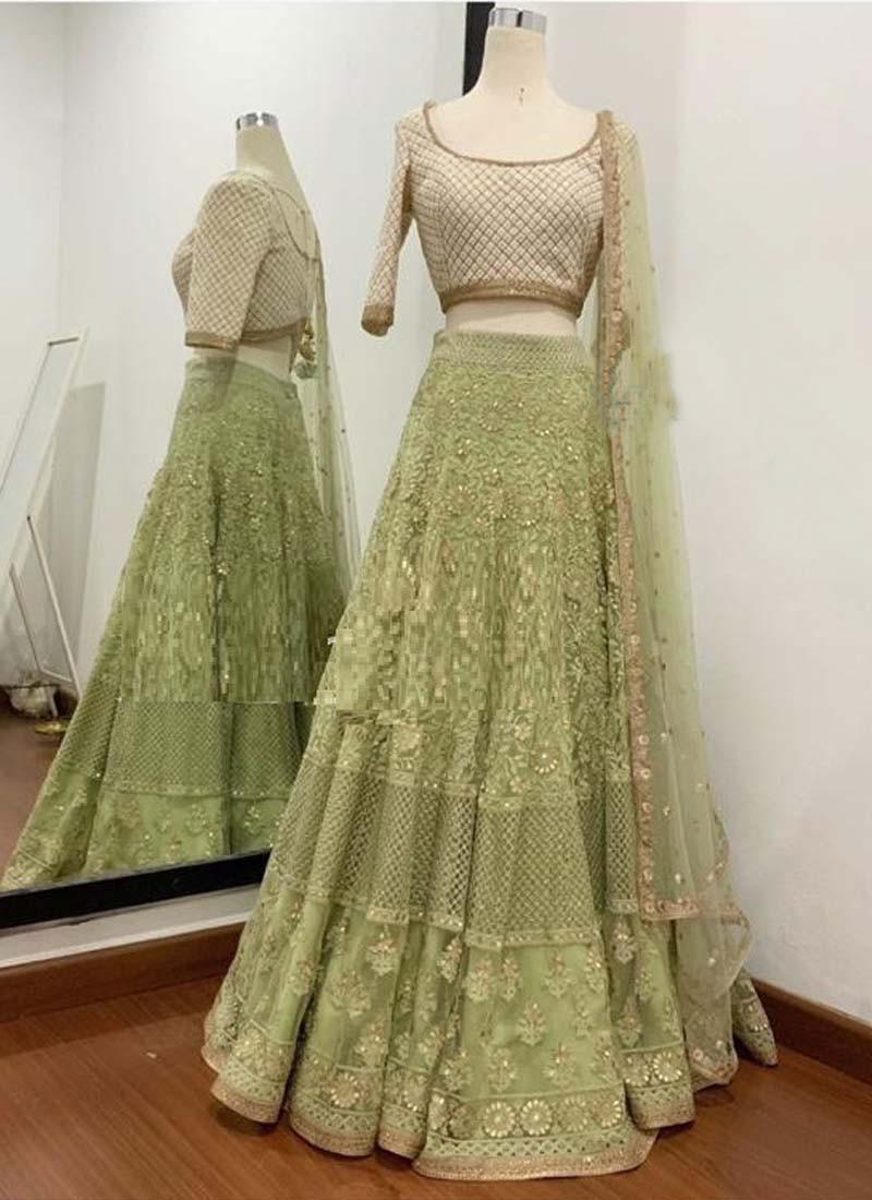 Party wear Sea Green Soft Net Embroidery Lehenga Choli With Dupatta