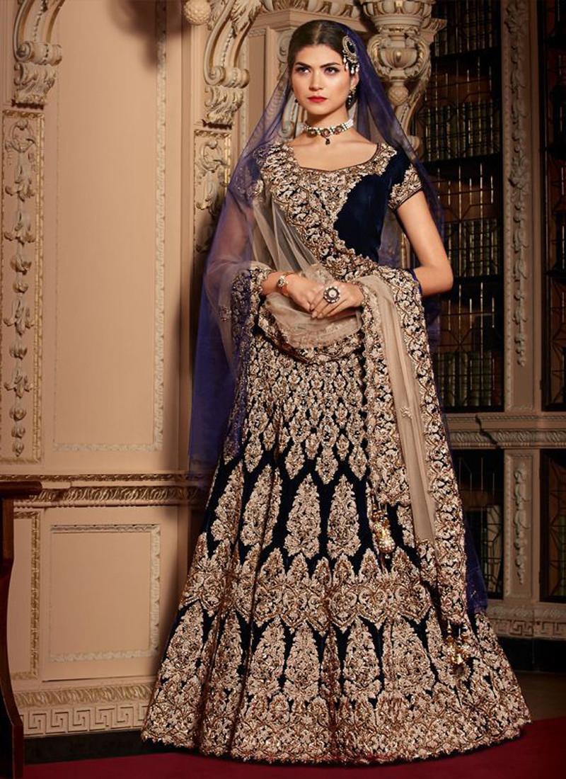 Wedding Wear Navy Blue Velvet Embroidered Lehenga Choli