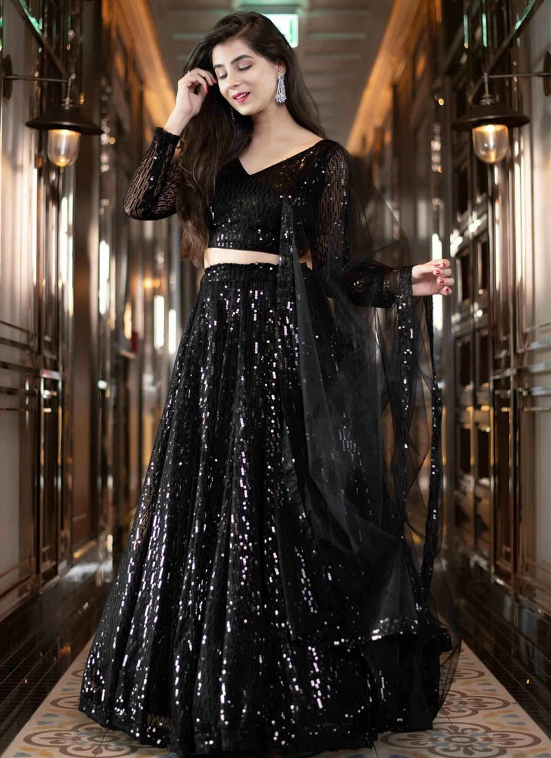 Party Wear Black Georgette Sequins Embroidered Lehenga Choli With Dupatta