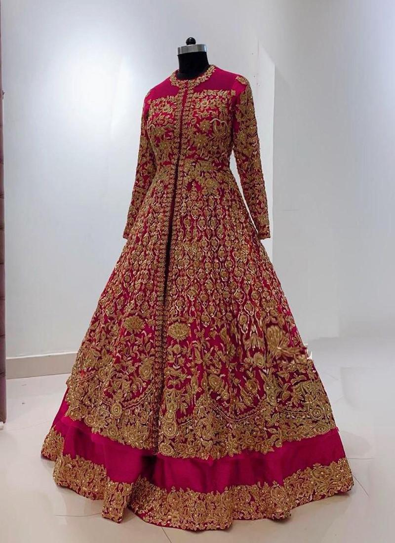 Designer wear Pink Georgette Embroidered Lehenga Choli