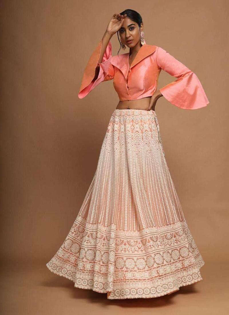 Designer Wear Peach Butterfly Net Stitched Work Lehenga Choli