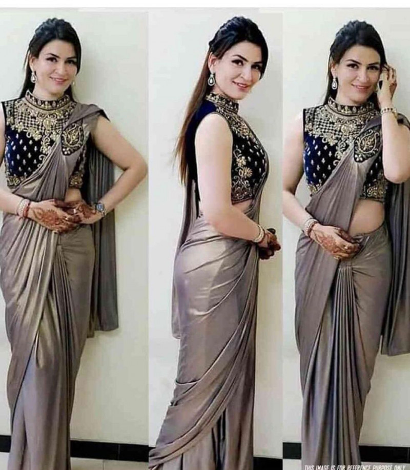 Stylish Beige Two Tone Silk Saree With Embroidered Blouse