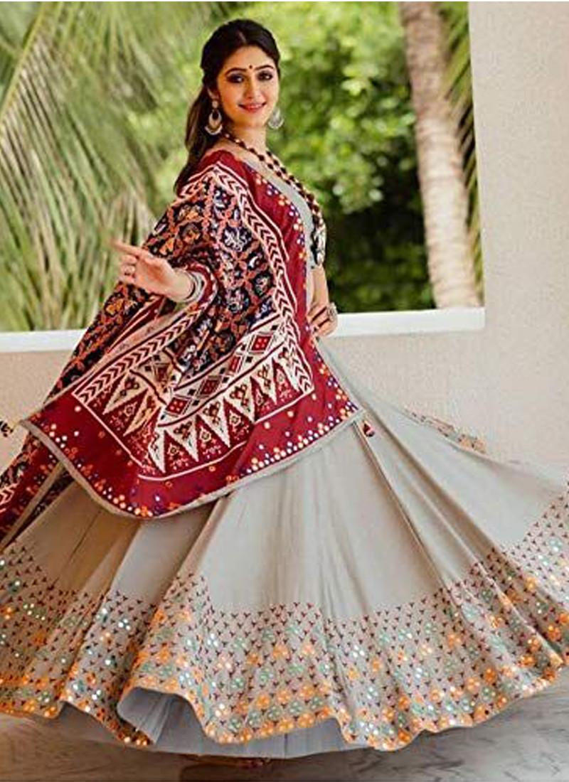Designer Off White Silk Lehenga for Navratry