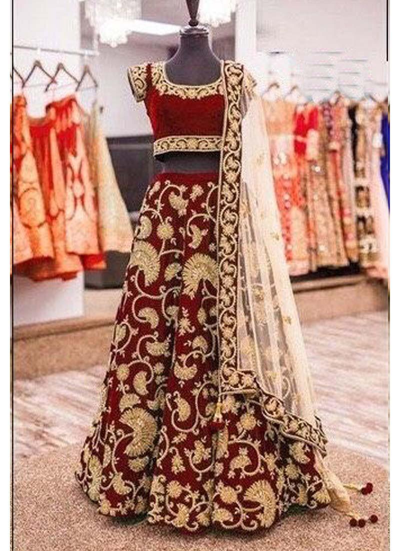 Impressive Maroon Velvet Embroidered Lehenga Choli