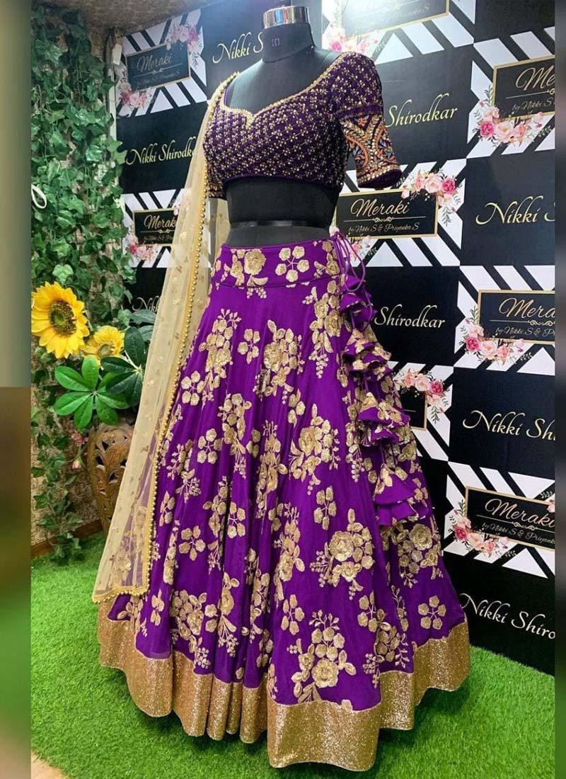 Designer wear Purple Taffeta Silk Embroidered Lehenga Choli