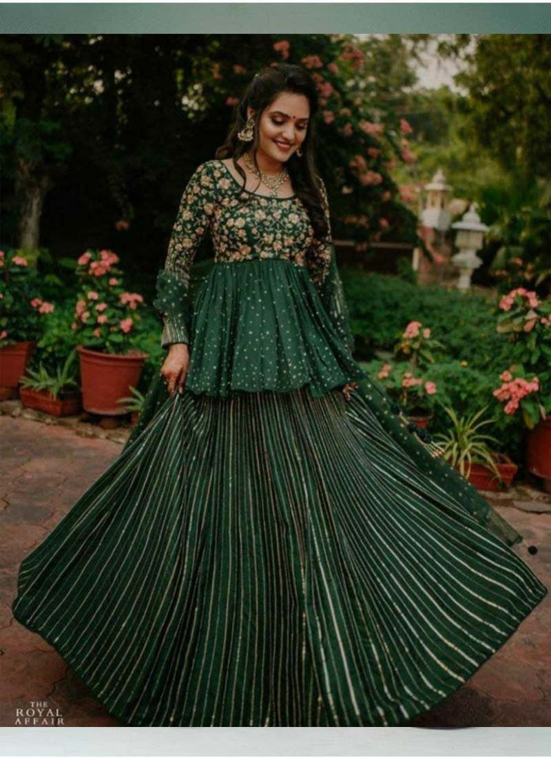 Traditional wear Green Georgette Embroidered Lehenga Choli with Dupatta
