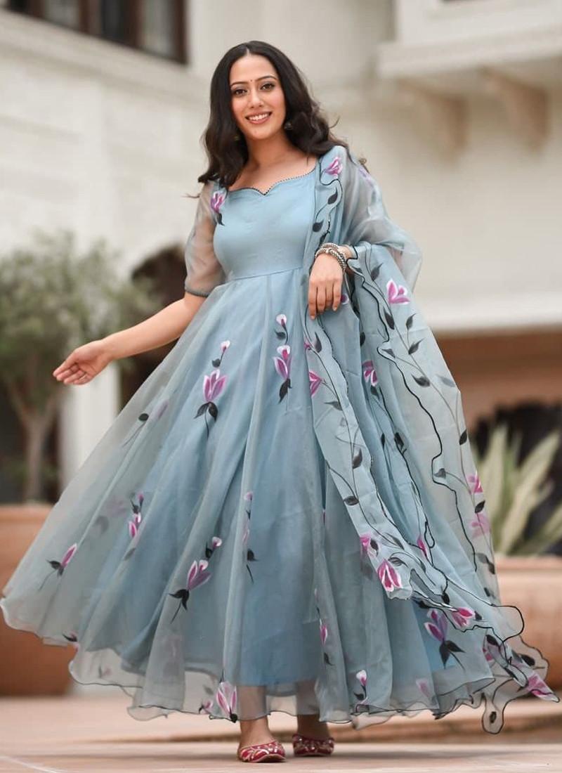 Designer Sky Blue Georgette Floar Lenth Salwar Suit