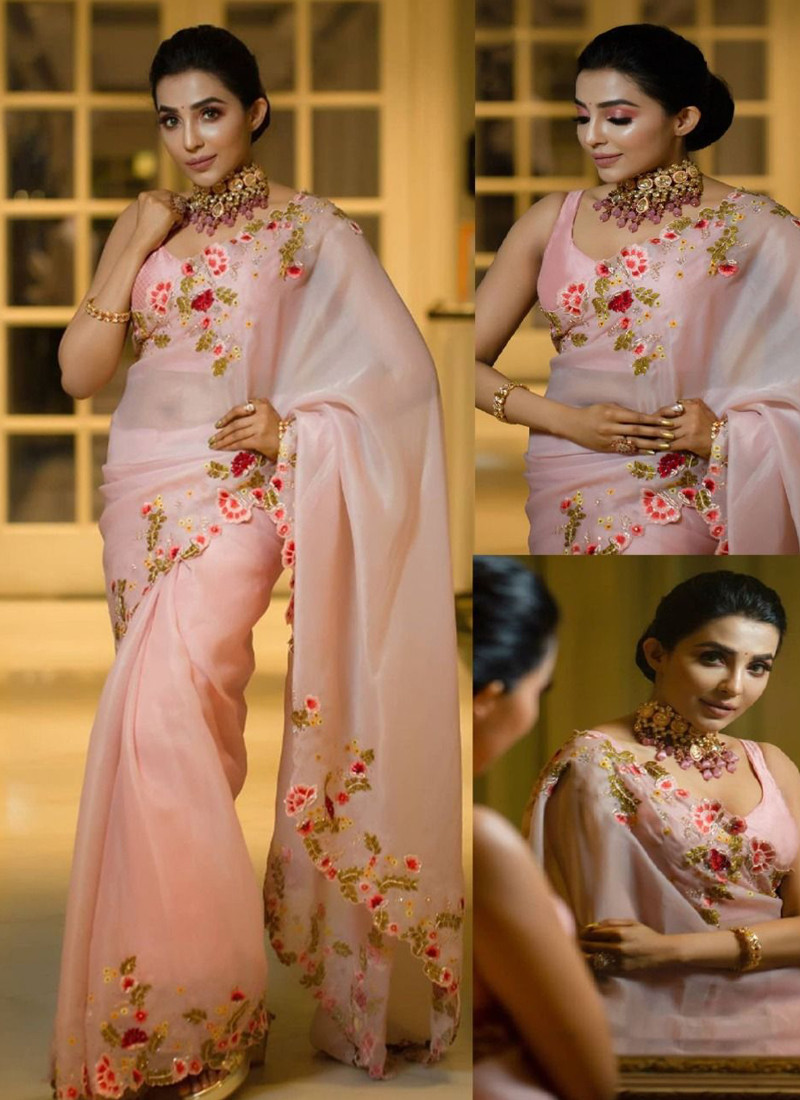 Simple Light Pink Georgette Saree for Woman