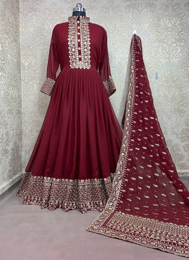 red-georgette-high-neck-anarkali-gown-with-embroidered-work