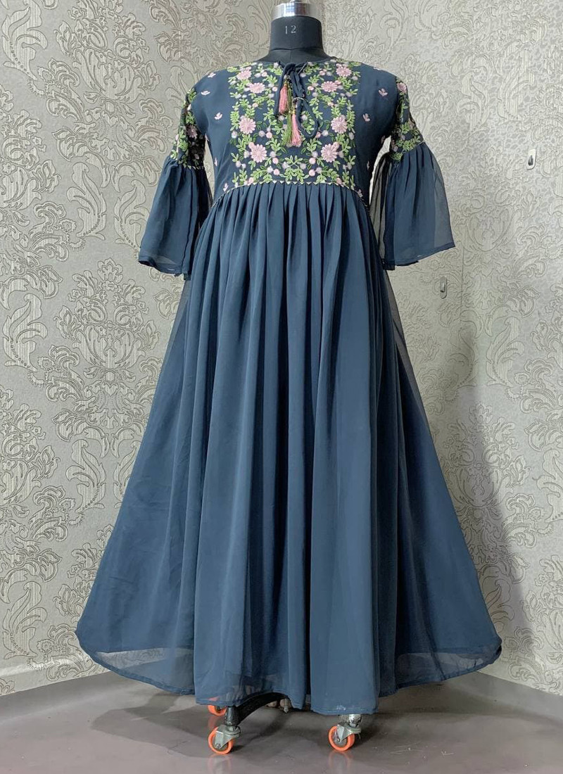 turquoise-georgette-anarkali-gown-with-long-sleeve