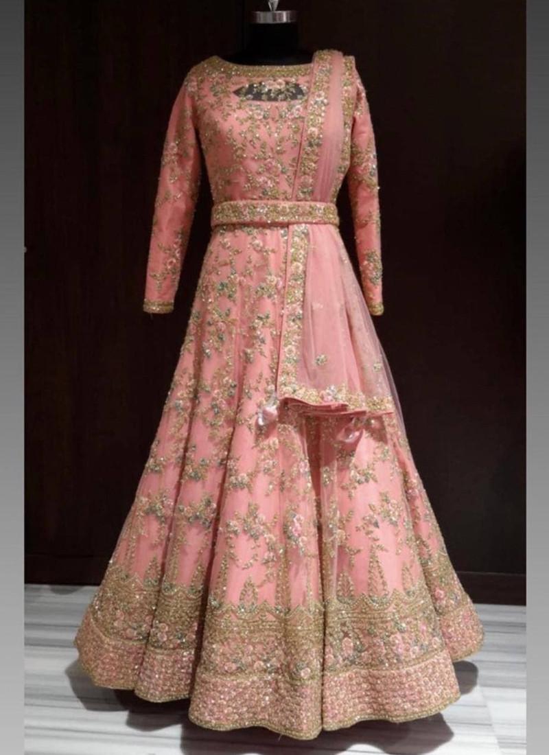 Designer Peach Net Gown with Waist Belt
