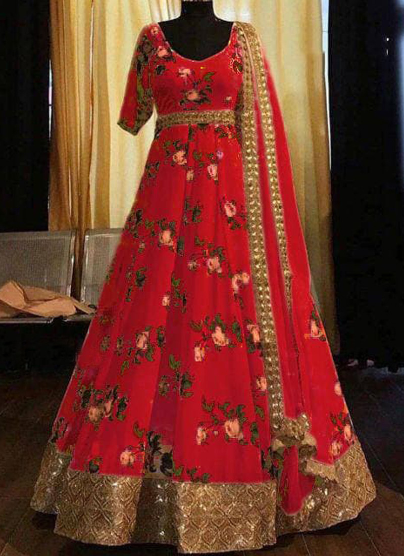 red-floral-printed-silk-part-wear-gown-for-ladies