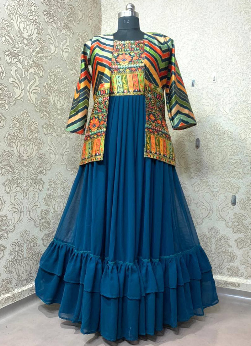 designer-turquoise-georgette-party-wear-gown-with-koti