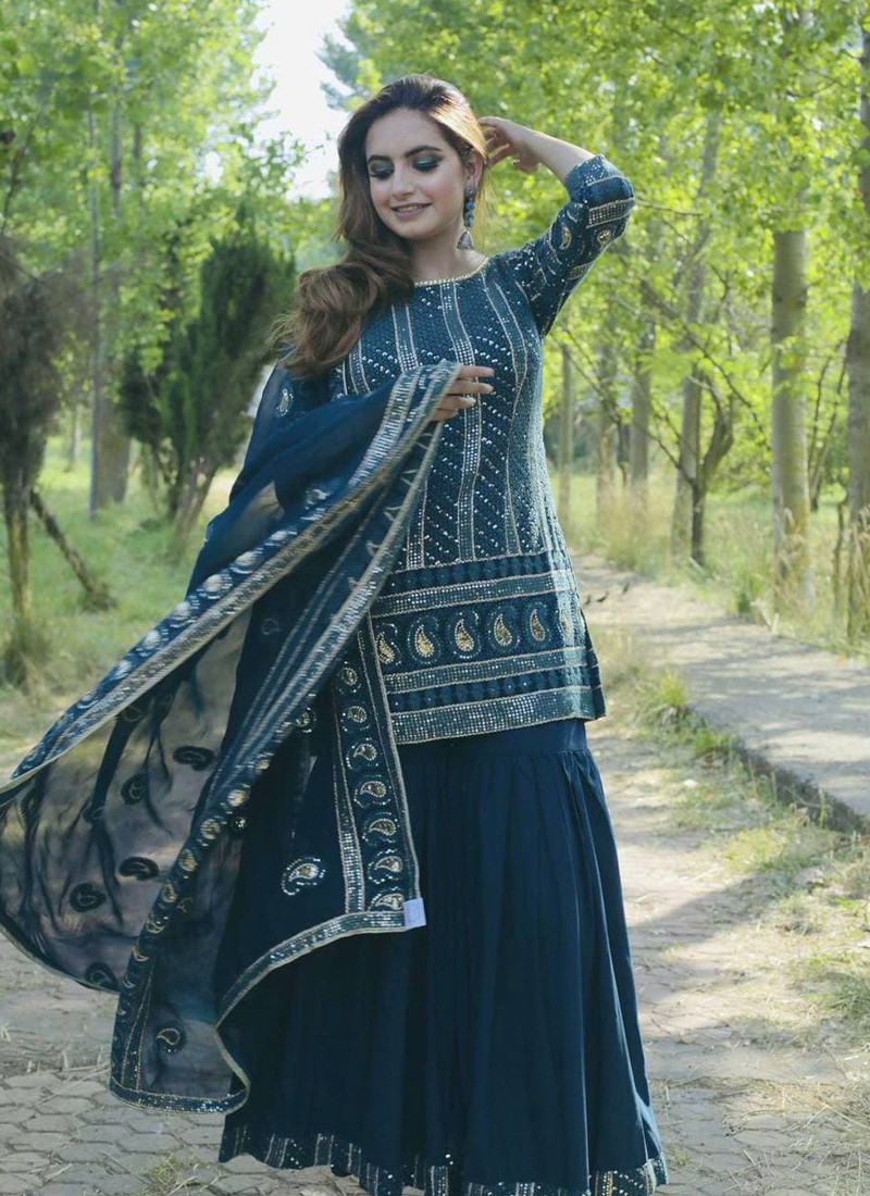 stylish-turquoise-georgette-long-sharara-suit-with-embroidery-work