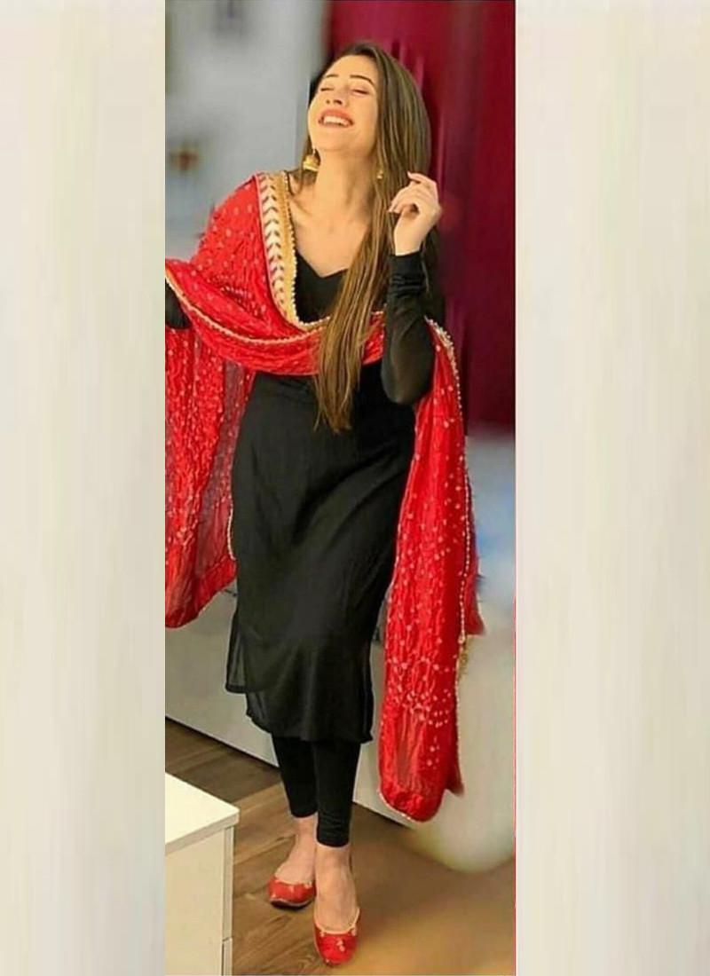 Designer Black Georgette Anarkali Gown with Embroidered Work