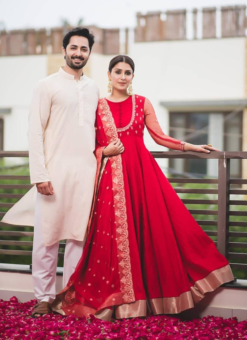 red-color-georgette-festive-wear-gown