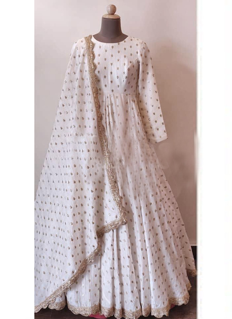 Stylish Off white Full Sleeves Heavy Georgette Gown