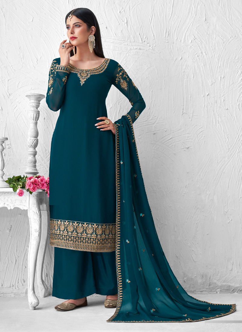 Teal Blue Georgette Salwar Suits with Embroidery Work