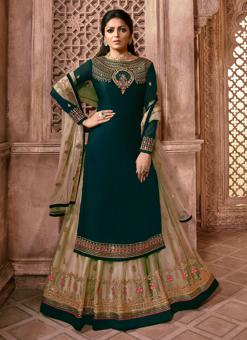 Drashti Dhami Turquoise Georgette Butterfly Net Ghaghara Style Salwar Suit