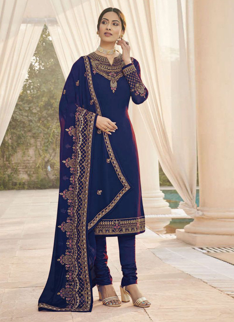 cobalt-blue-gerogette-salwar-suit-with-embroidery-and-stone-work-