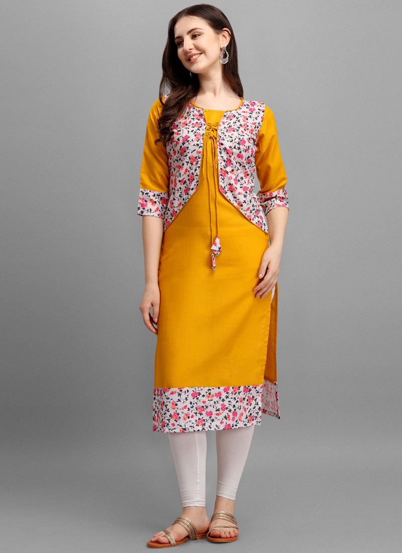 round-neck-cotton-kurti-in-yellow-color