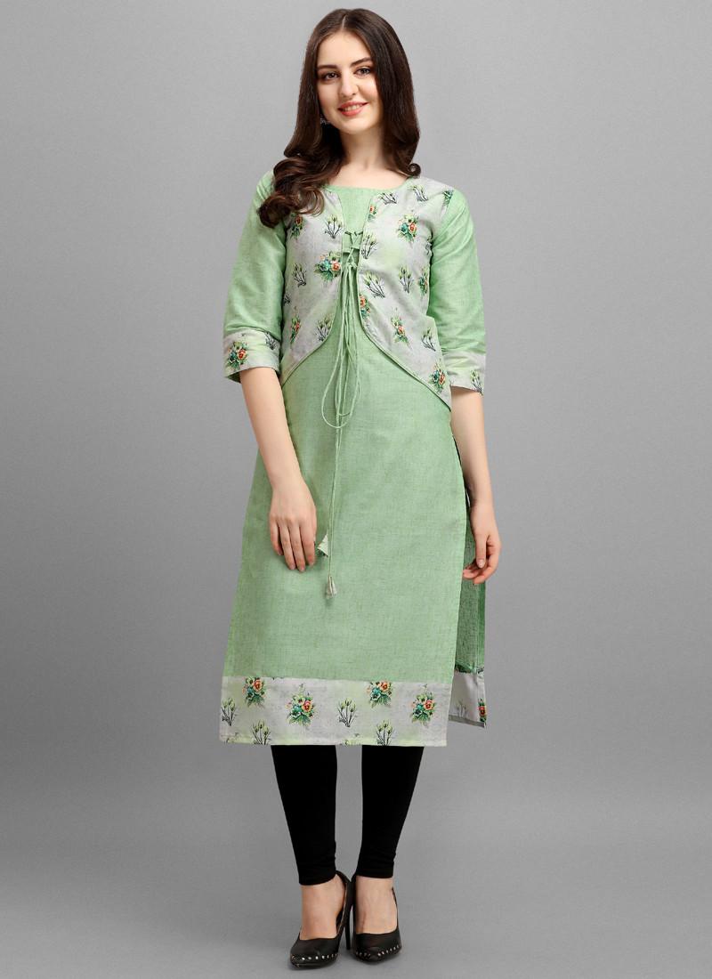 stylish-mint-green-floral-printed-cotton-kurti