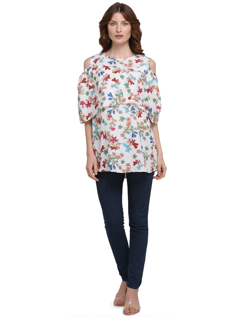white-printed-cold-shoulder-top