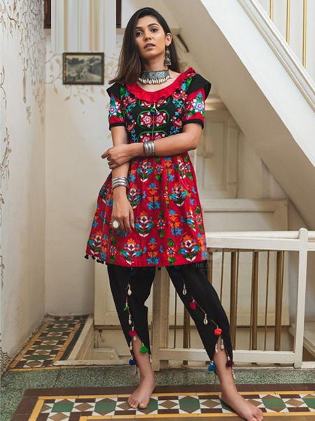 red-black-kedia-with-tulip-pants-navratri-collection