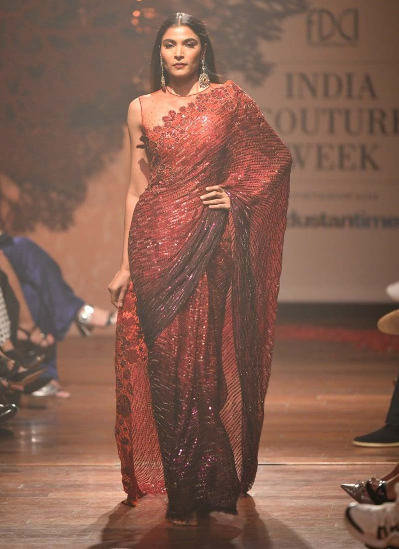 crimson-red-gerogette-saree-with-tone-to-tone-sequins-work