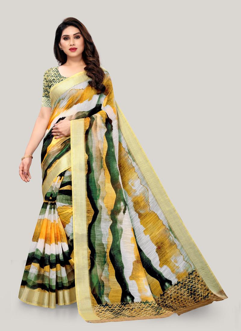 trending-corn-yellow-digital-printed-linen-saree