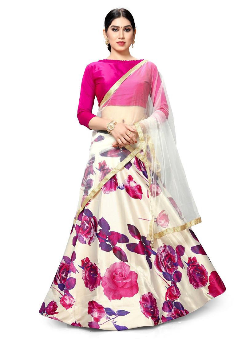 attractive-pearl-white-floral-printed-lehenga-choli-with-hot-pink-blouse