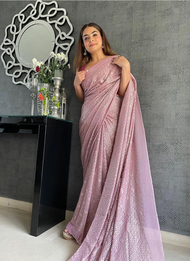 onion-pink-partywear-georgette-saree-with-sequins-embroidery-work