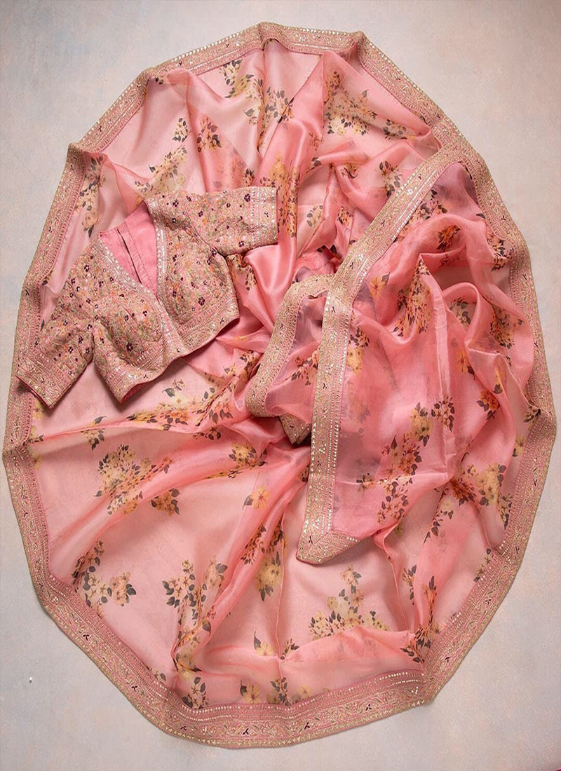 partywear-peach-cording-sequins-embroidered-saree-in-khadi-organza-fabric