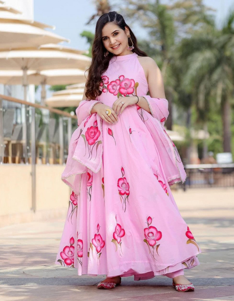 long-floral-printed-rayon-pink-sleeveless-gown-plazo-set