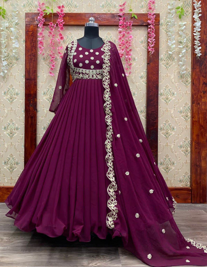 impressive-wine-georgette-anarkali-gown-set-with-cording-embroidery-work