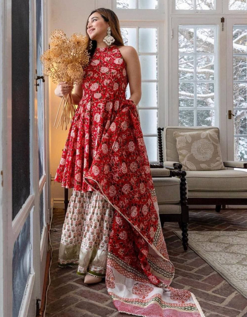 exclusive-red-colored-georgette-sharara-style-salwar-suit