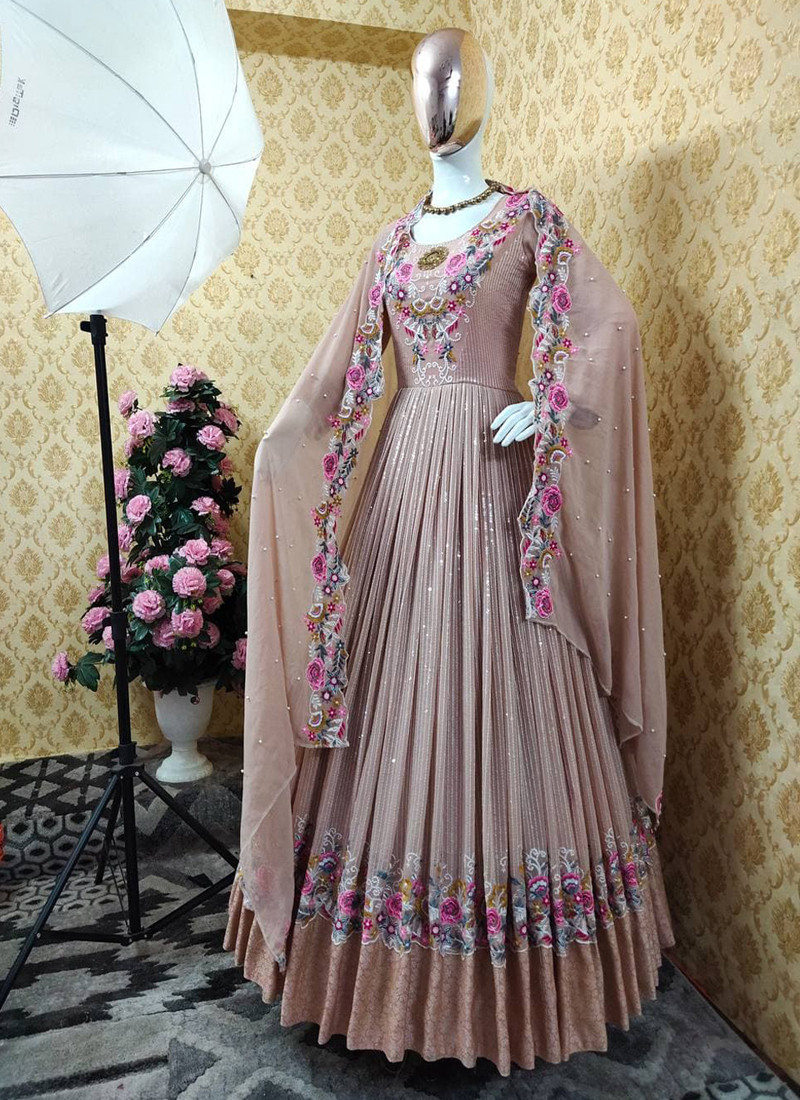 Attractive Partywear Chiku Colored GeorgetteAnarkali Suit with Embroidery and Sequins Work
