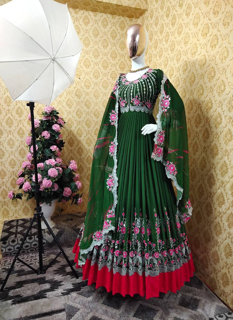 elegant-green-georgette-anarkali-suit-with-embroidery-and-real-mirror-work-on-sleeves