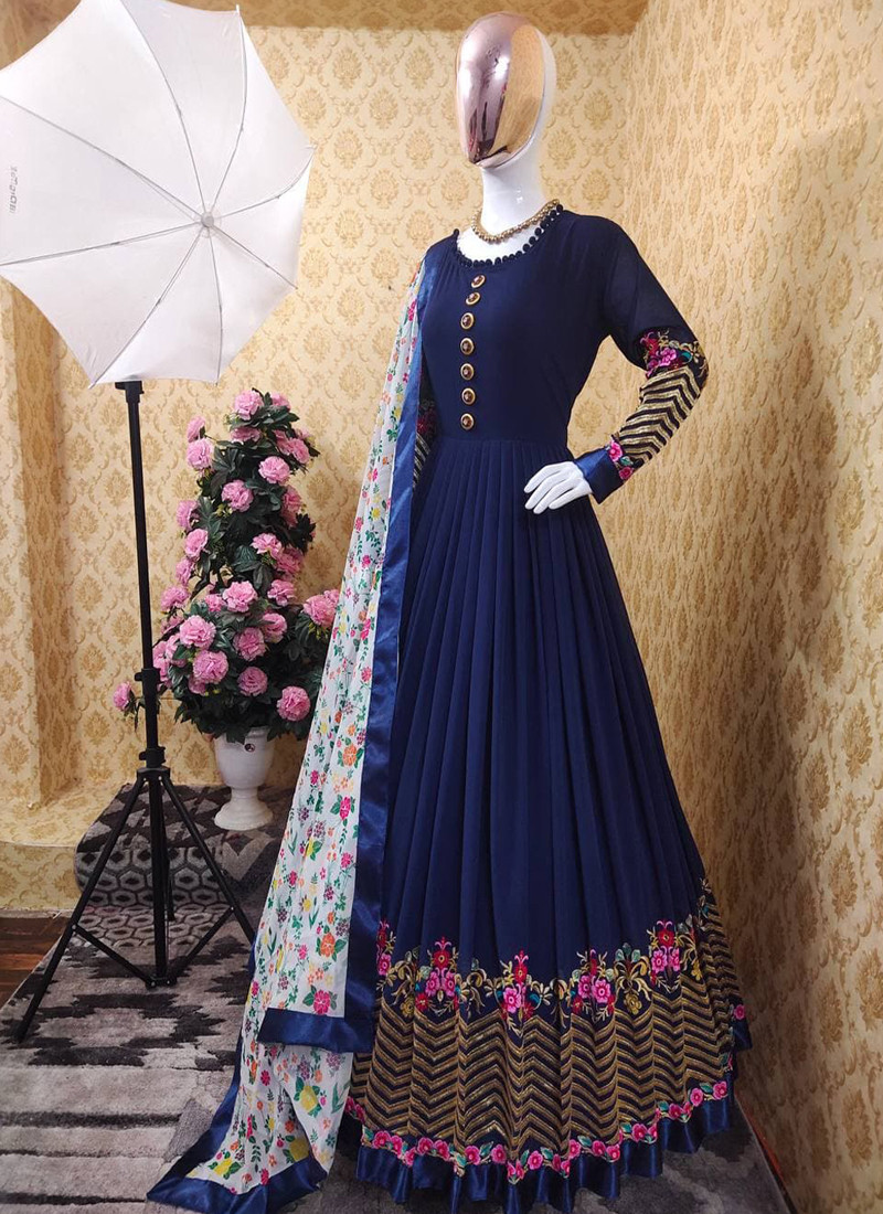 navy-blue-georgette-anarkali-gown-with-floral-printed-dupatta