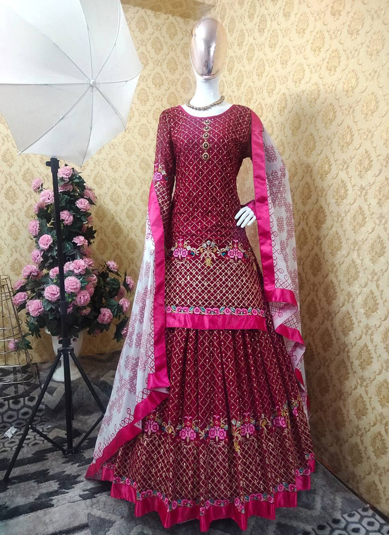 elegant-maroon-georgette-embroidered-shara-suit-with-white-dupatta