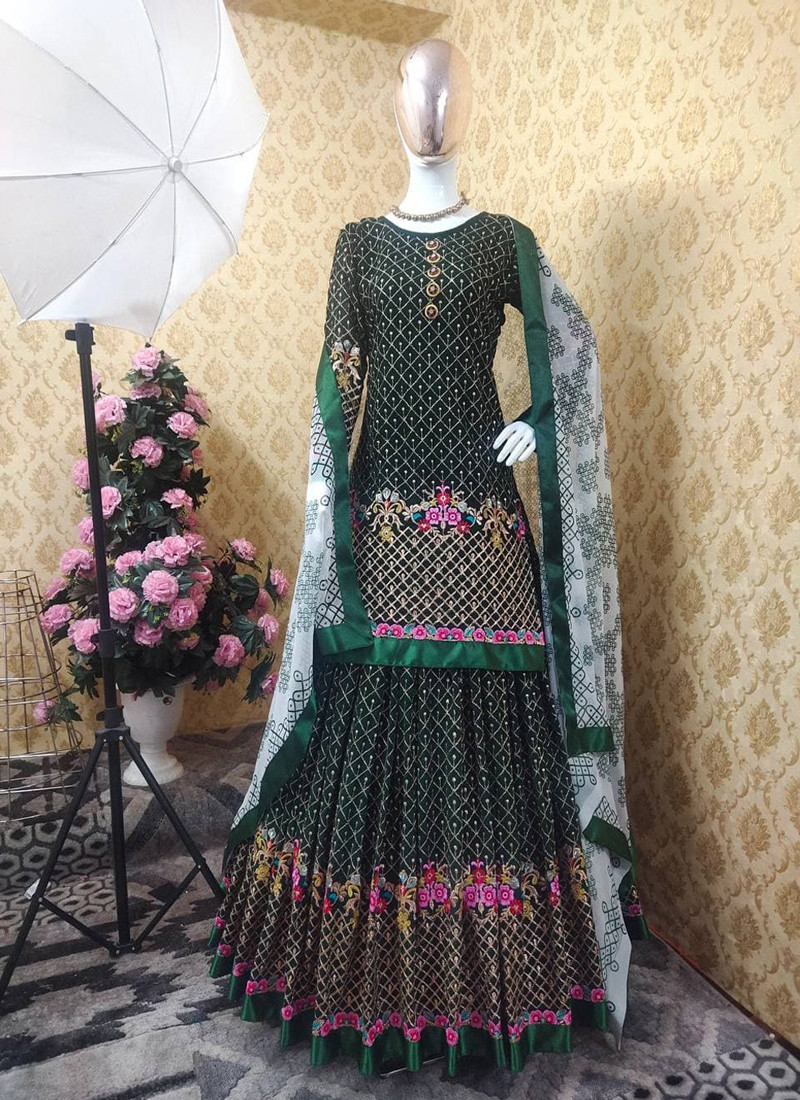 elegant-green-georgette-embroidered-shara-suit-with-white-dupatta