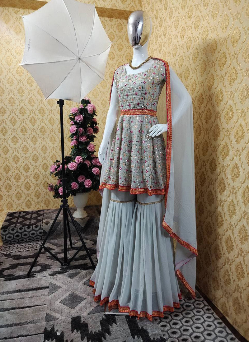 Gorgeous Grey Georgette Plazo Suit with Paper Mirror Embroidery