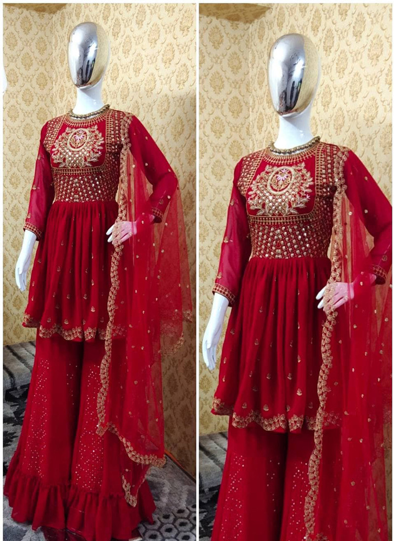 Fancy Red Colored Embroidered Plazo Suit with Soft Net Dupatta