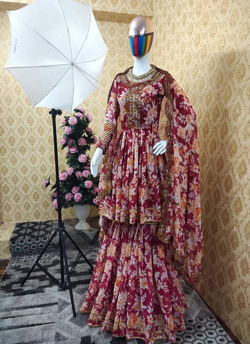 Casual Imperial Red Multi Digital Printed Georgette Plazo Suit