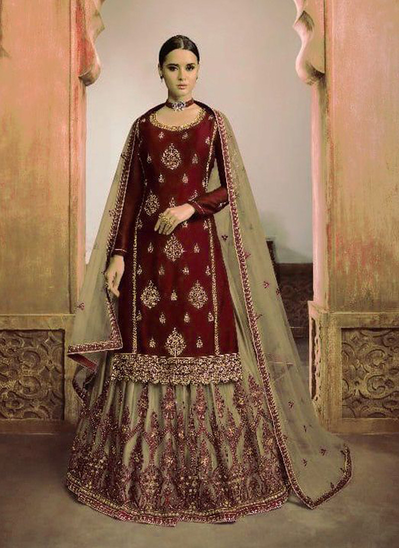 attractive-red-and-beige-knee-length-embroidered-salwar-suit