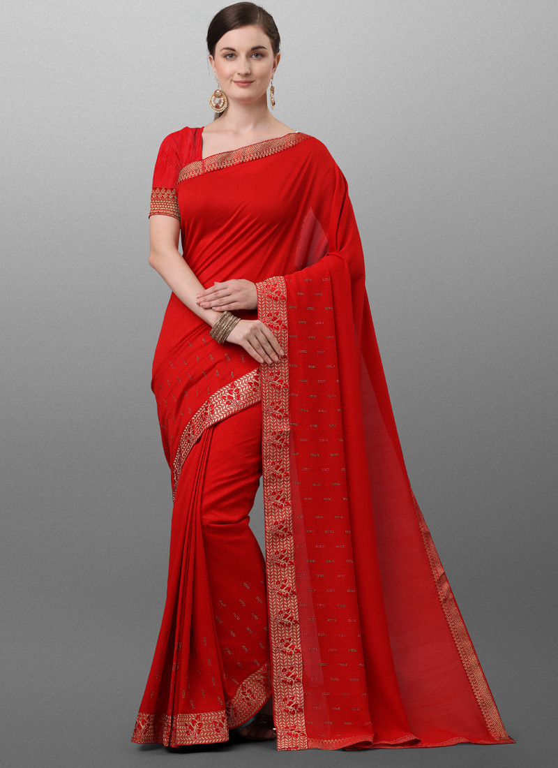 Red and Golden Polyster Saree for Online