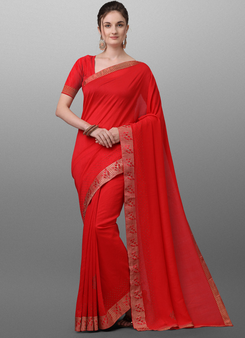 Plain Red Polyster Saree for Women
