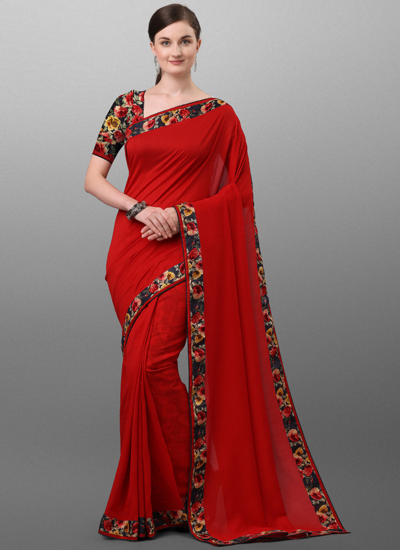 Red Polyester Saree with Floral Printed Border
